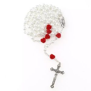 Holy Rosary with White 8mm imitation glass beads